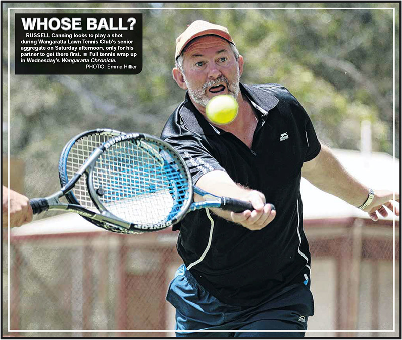 Russell Canning playing tennis at Wangaratta